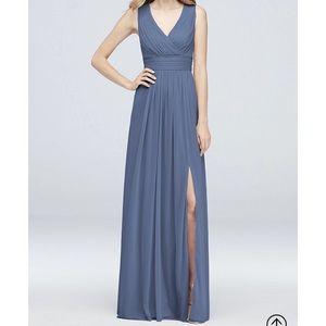 Long mesh pleated tank dress